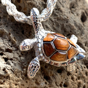 5MM Diamond Cut Rope Chain with Koa Honu