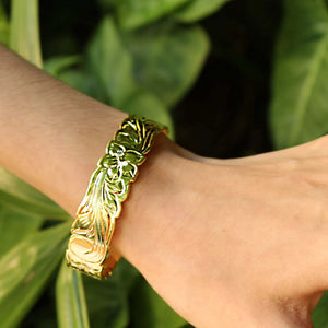 14K Gold Plated Hawaiian Scroll Bangle - 15mm on model