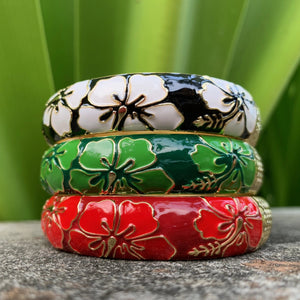 Classic Hibiscus Bangles in Black, Green and Red