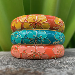 Vintage set of Bangles in Yellow, Teal and Coral