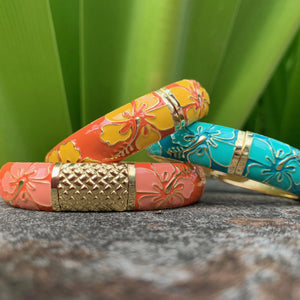 Vintage Set of Hibiscus Bangles in Yellow, Coral and Teal