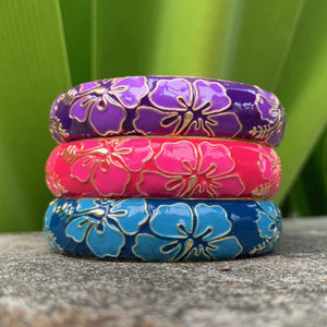Modern Set of Bangles in Purple, Pink and Blue
