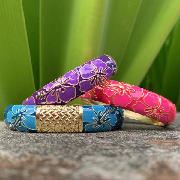 Modern Set of Hibiscus Bangles in Purple, Pink and Blue