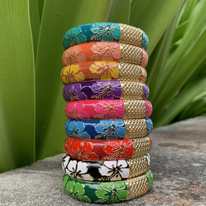 Hibiscus Bangles stacked in all nine colors