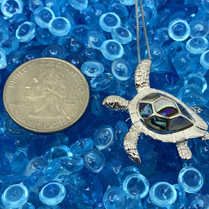 Mother of Pearl Honu Turtle Pendant on adjustable chain