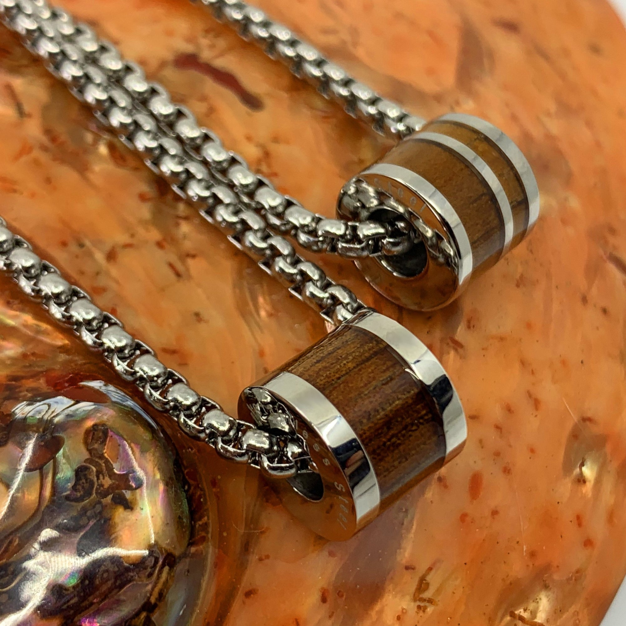 Koa Stainless Steel Barrel Pendant