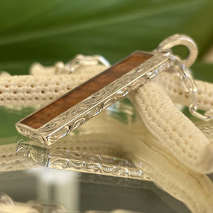 Koa Bar Hawaiian Scroll Pendant