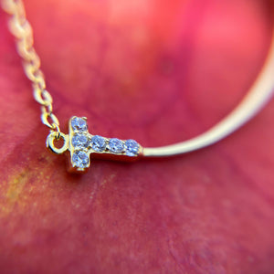 Simple Smile Cross Pendant with Cubic Zirconia Closeup.