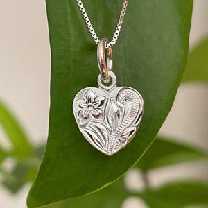Hawaiian Scroll Petite Heart Pendant Necklace