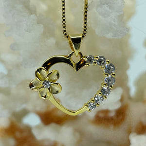 Gold Plated Plumeria Open Heart Pendant with Cubic Zirconia