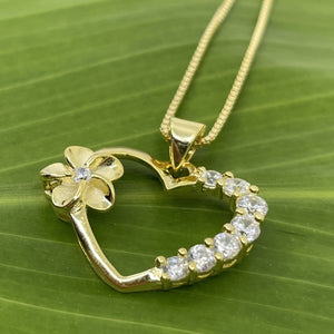 Gold Plated Plumeria Open Heart Pendant with Cubic Zircoina