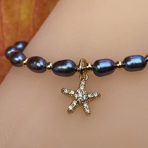 Freshwater Black Pearl Adjustable Bracelet with Starfish CZ Charm