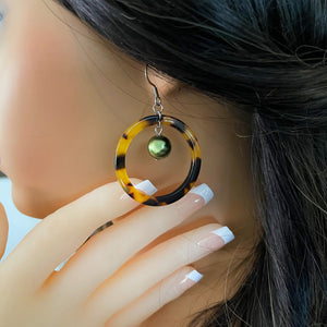 Faux tortoise Shell Dangle Earrings with Green Shell Pearls Hula Hoops on Model