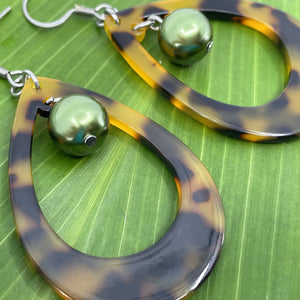 Faux tortoise Shell Dangle Earrings with Green Shell Pearls Raindrops