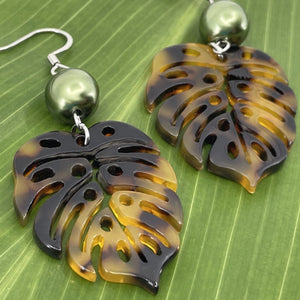 Faux tortoise Shell Dangle Earrings with Green Shell Pearls Monstera