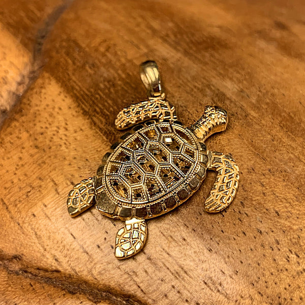 14K Gold Geometric Honu