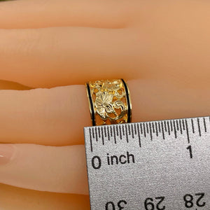Hawaiian Scroll Cutout Ring Measurement