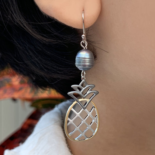 Tri-Color Pineapple Pearl Earrings