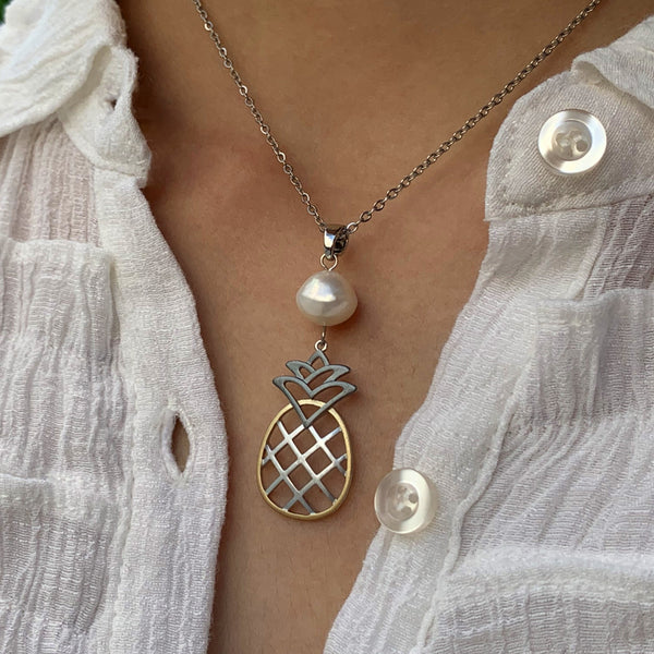 Tri-color Pineapple Pearl Pendant White on model