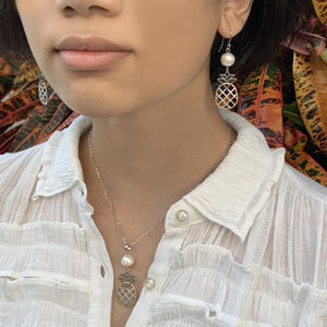 White Pineapple Pearl Tri color earrings shown on model with matching pendant