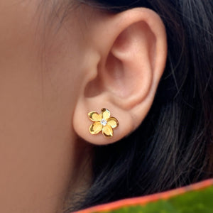 Plumeria CZ Earrings