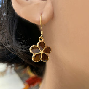 Plumeria Koa Dangle Earrings
