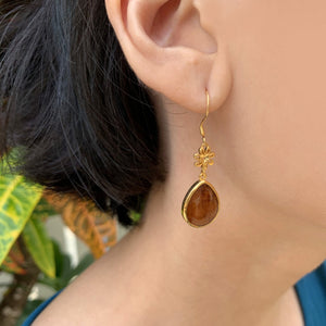 Koa Pineapple Teardrop Earrings on model