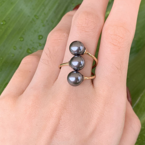 3 Pearl Adjustable Ring