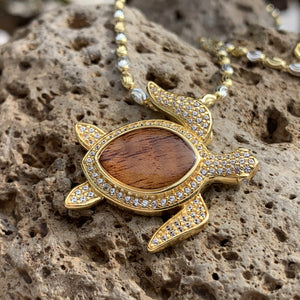 Koa Pave Honu Pendant with Two-Tone Moon Cut Chain