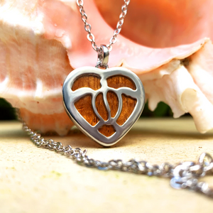 "Koa Honu Heart with 18"" Adjustable Chain closeup"