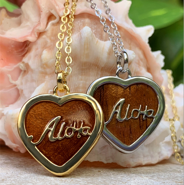"Koa Aloha Heart with 18"" Adjustable Chain closeup of front in gold and silver"