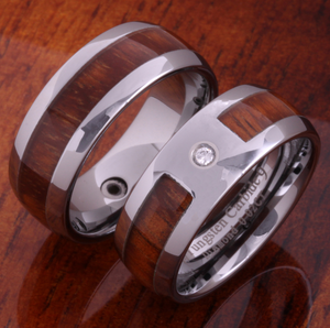 Koa Cubic Zirconia Tungsten Ring closeup 2 shot