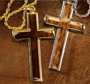 "Koa Cross with 20"" Rope Chain closeup in gold & silver"