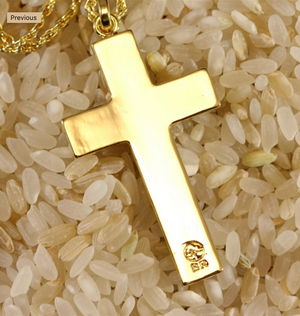 "Koa Cross with 20"" Rope Chain closeup in gold back"