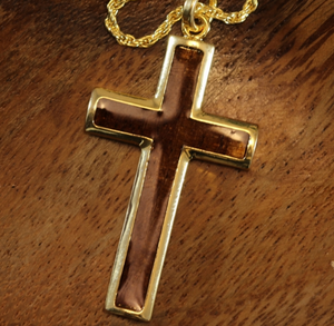 "Koa Cross with 20"" Rope Chain closeup in gold"