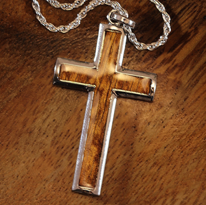 "Koa Cross with 20"" Rope Chain closeup in silver"