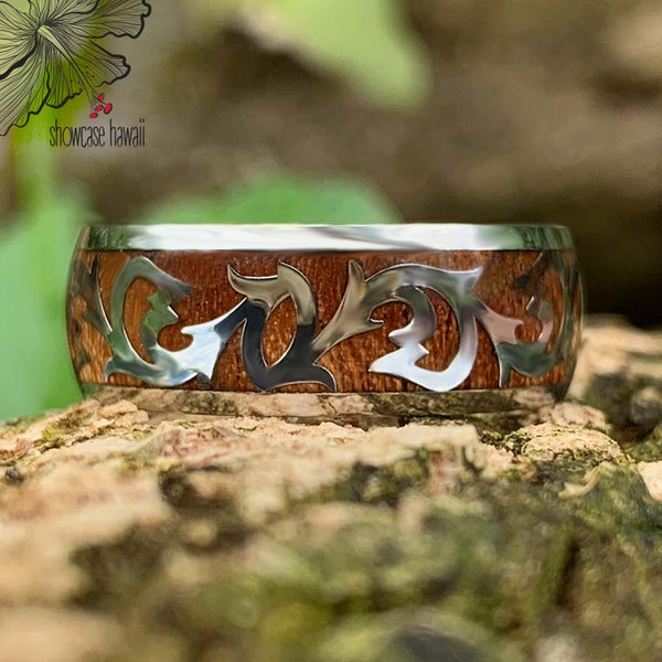 Koa Scroll Fish Hook Stainless Steel ring close up
