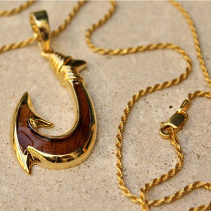 14K Gold Plated over Brass Fish hook Pendant and Chain