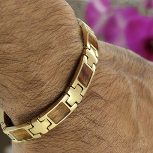 Koa Link Bracelet with Gold Plating Closeup on Model