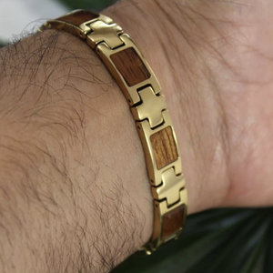 Koa Link Bracelet with Gold Plating Closeup on Model Back