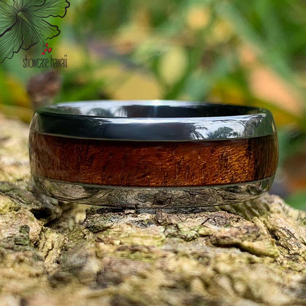 Koa Tungsten Ring closeup
