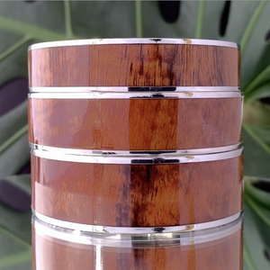 Koa Wide Bangle with Silver Plating stacked