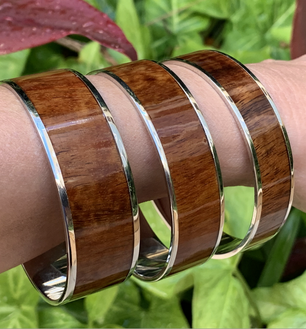 Koa Wide Bangle with Silver Plating on model