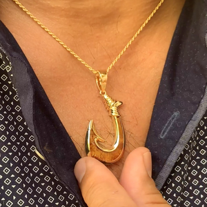 Koa Fish Hook Pendant w/Chain