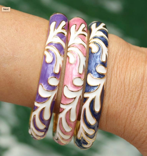 Limu Design Bracelets Purple Pink Blue on Model