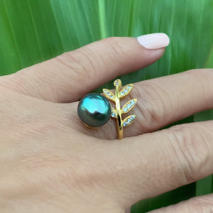 Maile Cubic Zirconia Ring with Black or White Freshwater Pearl