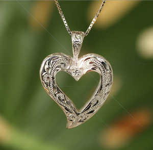 Hawaiian Scroll Open Heart Pendant in .925 Sterling Silver