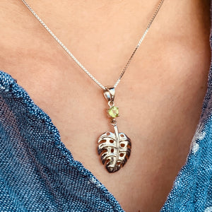 Peridot Pendant Sterling Silver Monstera on Model