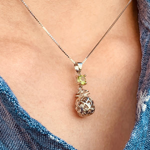 Peridot Pendant Sterling Silver Pineapple on Model