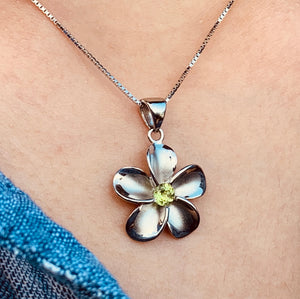 Peridot Pendant Sterling Silver Plumeria on Model